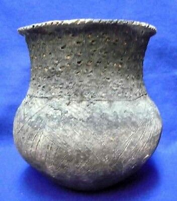 Vintage Antique Circa 800-1200AD Early Caddo Brushed Jar Pottery