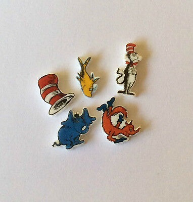 Dr Seuss 5 Floating Locket Charms Fish Elephant Fox Hat Education
