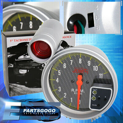 "Jdm 5"" Carbon Fiber Tachometer 11K Rpm Tach Gauge + Shift Light Impreza Wrx Brz"