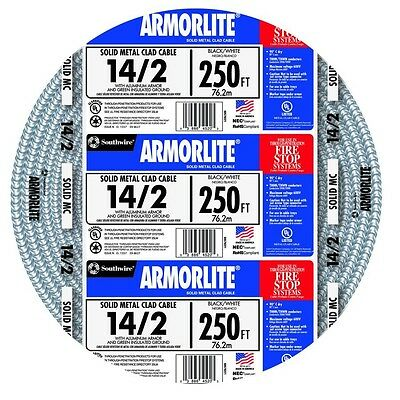 SALE Armorlite 250-ft 14-2 Solid Aluminum MC Cable Armored Electrical