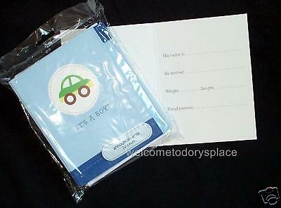 BOY Birth Announcements 20 Cards Envelopes Car BLUE American Greetings NEW NIP