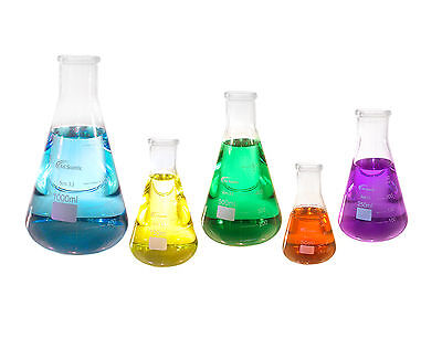 Erlenmeyer Flask Glass Set of 5, 50 150 250 500 1000 ml