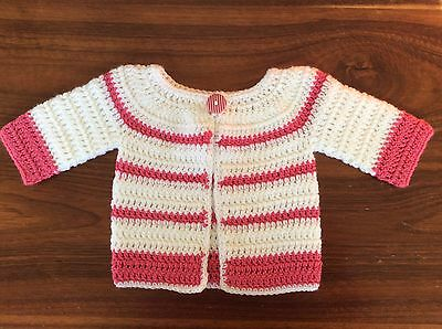 PINK & WHITE CROCHET BABY Cardigan  SIZE 00 - handmade in PERTH