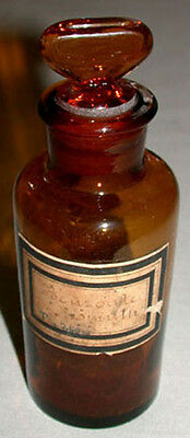 1900's Antique  Amber Glass Apothecary Drug Bottle With Label & Glass Lid