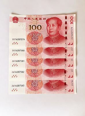 5 X 2015 China 100 Yuan Mao Chinese Currency Rmb Money Banknote Circulate Mint