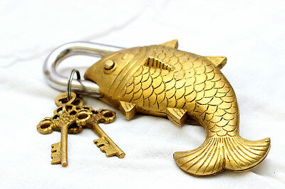 Golden Antique Design Fish door lock