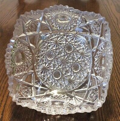 Antique Deep Cut Glass Serving Dish with Sawthooth Edge
