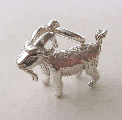 GENUINE SOLID 925 STERLING SILVER 3D GOAT ANIMAL ZODIAC STAR Charm/Pendant
