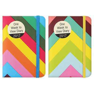 2017 Pocket Diary Week To View Diary Vibrant Zig Zags with Elastic Strap