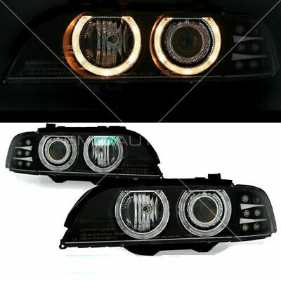 BMW E39 Scheinwerfer Set Klarglas Schwarz Angel Eyes Halogen 95-04 + LED Blinker