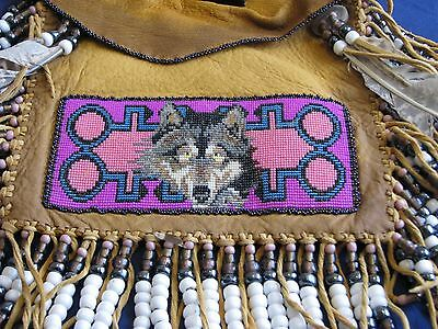 Native American Hand Crafted & Beaded Wolf, Coyote Leather Bag With COA