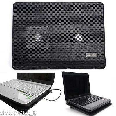 Supporto Base Raffreddamento Notebook 2 Ventole Cooler Pc Netbook Usb Led Blu