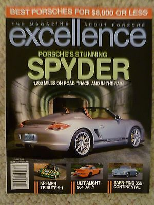 """2010 Porsche Excellence Magazine May 2010 """"Stunning Spyder"""" RARE!! Awesome L@@K"""