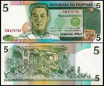 Philippines P-168 Five Pesos Year 1985-94 ND Uncirculated FREE SHIPPING
