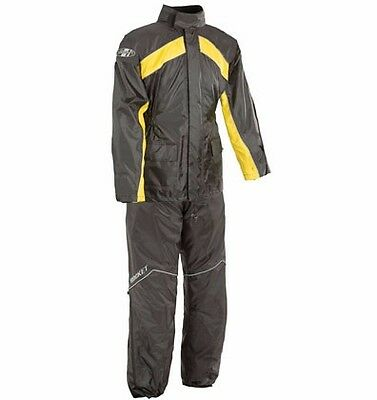 Joe Rocket Rs2 Mens Motorcycle Rain Suit 2Xl  Xxl Black Yellow Top And Bottoms