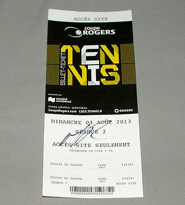 Milos Raonic Signed 2013 Coupe Rogers Cup Tennis Ticket