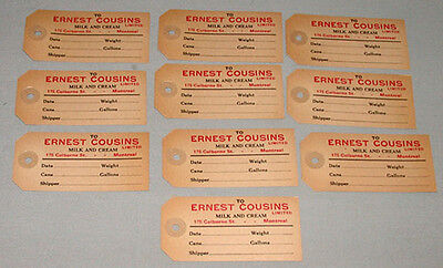 "Rare 1920's  Lot Of 10 "" Ernest Cousins Limited "" Montreal Dairy Milk Coupons"