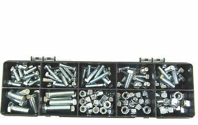 """145 Assorted Zinc Plated UNF Nuts, Bolts And Hex Sets 1/4"""" 5/16"""" & 3/8"""""""