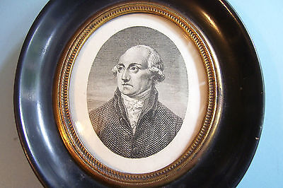 Fine Georgian Portrait Miniature Print Earl Dartmouth Turned Ebonised Frame 1792
