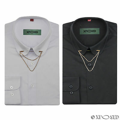 Mens Shirt Slim Fit White Black Pin Collar Gold Chain Tie Bar Cotton Mix Form
