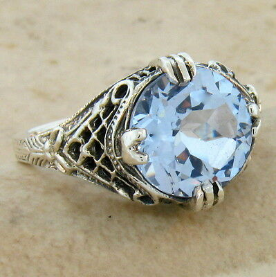 5 Ct SKY BLUE SIM TOPAZ ANTIQUE DESIGN .925 STERLING SILVER RING SIZE 7, #341