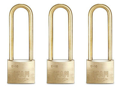 THREE IFAM E40 ELS ALL BRASS KEYED ALIKE  PADLOCKS. 75mm EXTRA LONG SHACKLE .