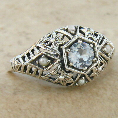 Sim Aquamarine Pearl Antique Deco Style .925 Silver Filigree Ring Size 10,#369
