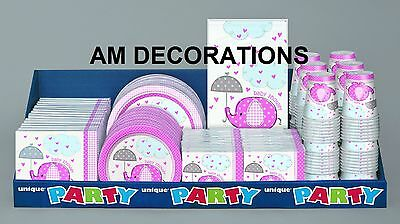 Pink Umbrellaphants Baby Shower Girl Party Decorations Banners Tableware