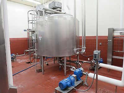 Crepaco 1400 Gallon Stainless Steel Jacketed Mixing Tank w/ Sweep Agitator