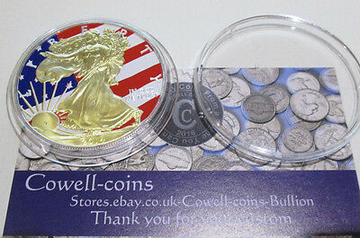 2014 1 oz Silver Coin -Silver Eagle-Color and 24k Gold Gilded Edition UK B.U Cc1