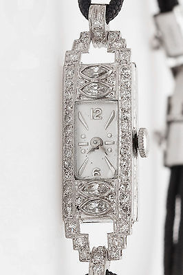 Antique 1930s ART DECO 1.50ct Marquis Diamond Platinuim Ladies Watch WARRANTY