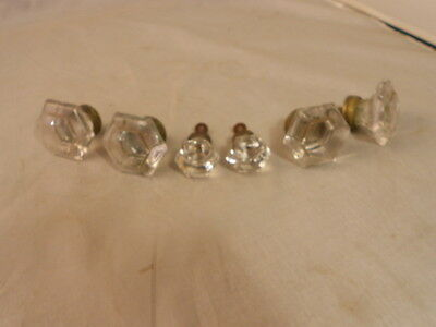 Antique hexagonal cut glass knob set of 4 large and 2 small with brass backing