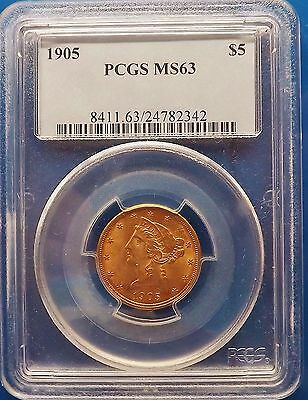 1905 Liberty $5 Half Eagle Gold Coin Ms-63 Pcgs Certified