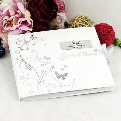 50th Birthday Butterfly Guest Book - Personalised Gift - Add a Name & Message