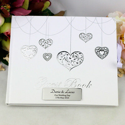 Personalised Wedding Guest Book - Hearts - Add a Name & Message