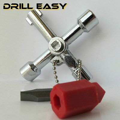 4 way Cross Triangle KEY for Train Electrical Elevator Cabinet