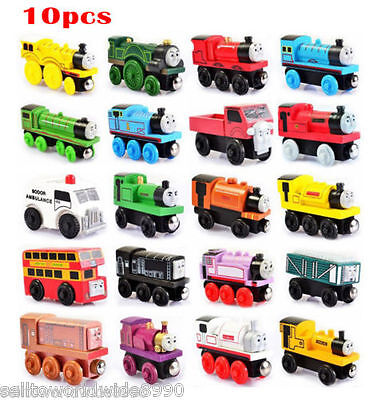10 x Wooden Magnetic Thomas Train Action Figure Toys Random Mixed Style