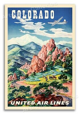 1950s Colorado Garden of the Gods Vintage Style Travel Poster - 20x30