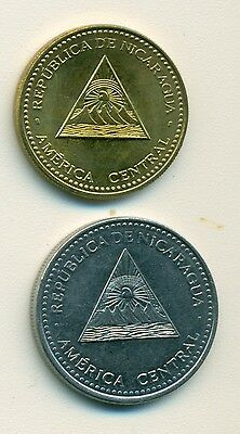 2 DIFFERENT COINS from NICARAGUA - 25 CENTAVOS & 1 CORDOBA (BOTH DATING 2007)