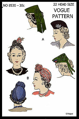 """Unusual Millinery Cap TURBAN Hats Fabric Sewing Pattern VOGUE #8530 22"""""""