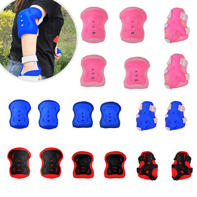 Set of 6 Children Protective Pad Kids Wrist Elbow Knee Protectors Gear Set