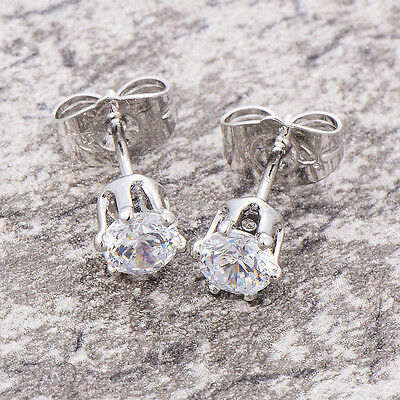 Baby child earings Crystal stud earrings 14K white gold filled childrens jewelry