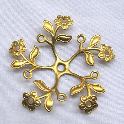 37mm Flower Filigree Raw Brass Findings Metal Crafts Supply bf064 (8pcs)