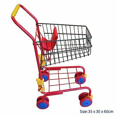RED METAL KIDS SHOPPING SUPERMARKET TOY TROLLEY CART kitchen pretend role play
