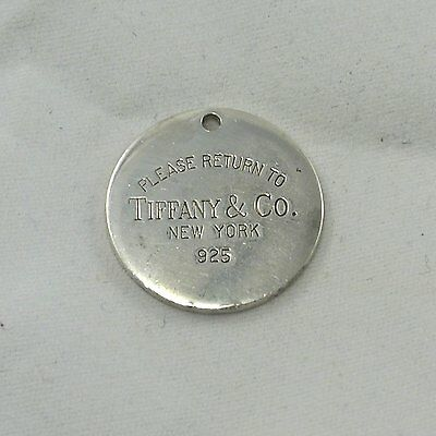 Sterling Silver GENUINE Please Return To Tiffany & Co Bracelet Charm Pendant Tag