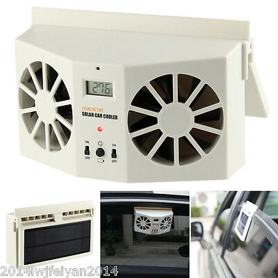 Solar Sun Powered Car SUV Air Vent Cool Ventilation System Dual Fan Cooler Ivory