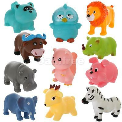 Squeaky Bath Time Toy Floating Baby Kid Rubber Forest Animal Set of 11 Pcs