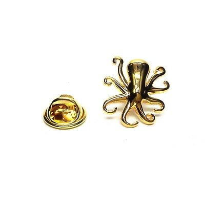Golden Octopus Lapel Pin Badge X2AJTP524