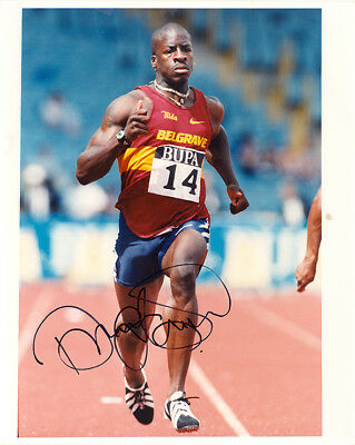 Dwain Chambers, British sprinter, Olympics, signed 10x8 press photo. COA. Proof.