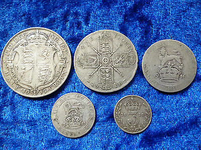 Sterling Silver British Coinage of George V - 5 coins 2/6-3d *multi listing*